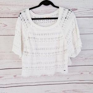 Hollister White Crochet Boho Swim CoverUp Crop Top